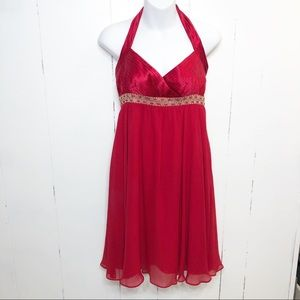 Adrianna Papell Boutique Red Silk Halter Dress NWT